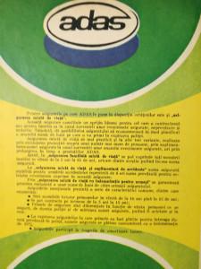 Reclamă asigurări ADAS, 1982, 24 x 16,5 cm, comunism, epoca de aur