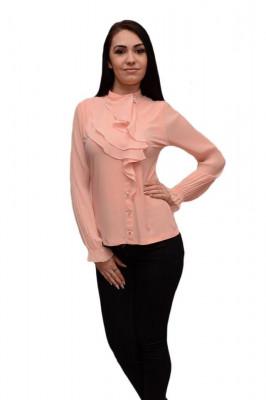 Bluza eleganta, de ocazie, nuanta piersica, model de volane chic foto