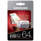 Card de memorie Samsung Micro SD EVO Plus 64GB, Class 10, UHS-I U3 + adaptor SD, 64 GB