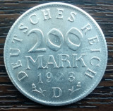 (M912) MONEDA GERMANIA - 200 MARK 1923, LIT. D, STARE FOARTE BUNA