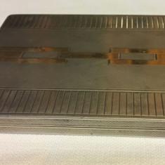 Tabachera veche - argint masiv (925, Y) 140 gr., cu insertii de aur - Superba!