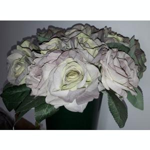 Buchet flori artificiale - ANTIQUE ROSES  5 fire OLIVE GREEN BROWN   H 25  cm