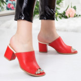 Papuci Piele Torita rosii cu toc