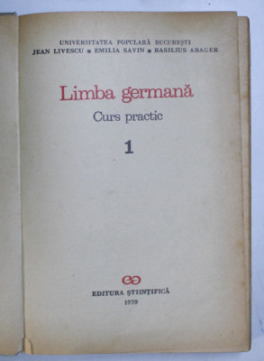 LIMBA GERMANA , CURS PRACTIC 1 de JEAN LIVESCU...BASILIUS ABAGER 1970 foto