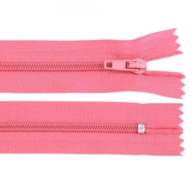 Fermoar spiralat nedetașabil cu atoblocare, lungime 10 cm, culoare roz foto