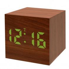 Statie meteo Bresser MyTime WAC RC, termometru, alarma, LED verde, Maro