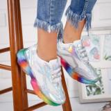 Pantofi dama sport argintii cu talpa multicolora Radinia -rl