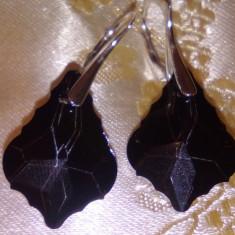 CERCEI LUX BAROQUE,negru ,Swarovski,argint 925