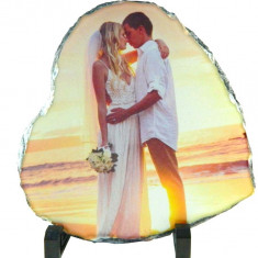 Tablou piatra naturala ardezie personalizat, forma inima 20x20cm
