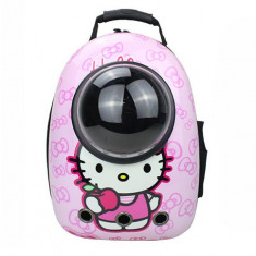 Rucsac transport animale de companie, tip capsula astronaut, Pink Hello Kitty, Gonga