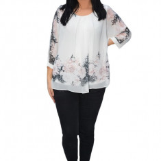 Bluza de ocazie din material tip voal,alb cu imprimeu floral pudra
