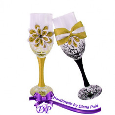 Pahare nunta miri si nasi, Handmade by Diana Puiu, PNFJ 2 galben-negru