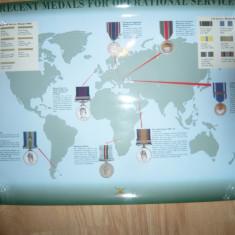 Afis cu Medalii si Ordine Militare Britanice - Zone Operatiuni in lume ,70x50cm
