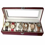 Cumpara ieftin Oferta! Caseta eleganta depozitare cu compartimente pentru 6 ceasuri, imprimeu crocodil rosu + 6 ceasuri de dama