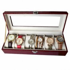 Oferta! Caseta eleganta depozitare cu compartimente pentru 6 ceasuri, imprimeu...