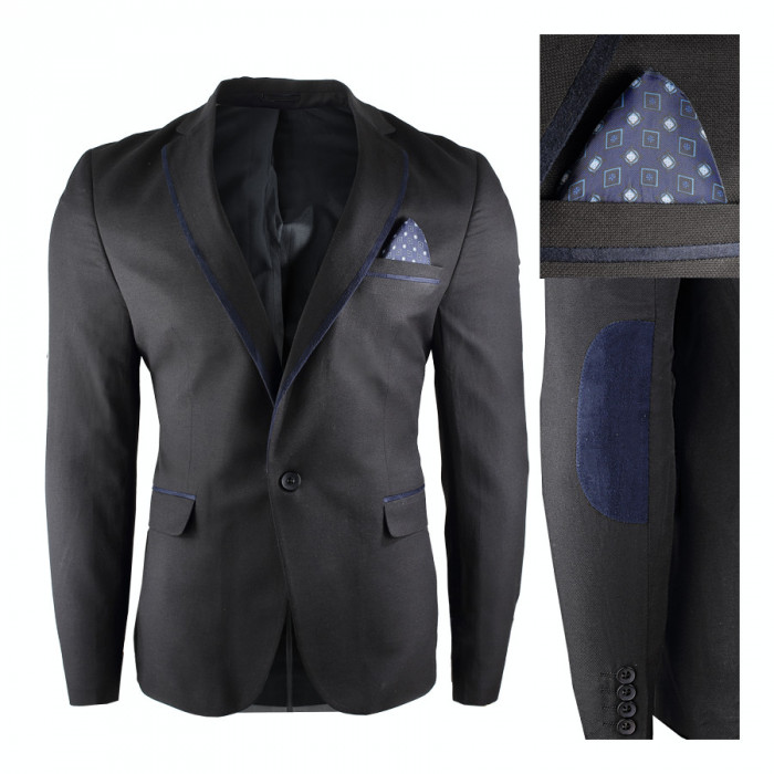 Sacou pentru barbati, negru, casual, slim fit, inchidere un nasture - royal venice