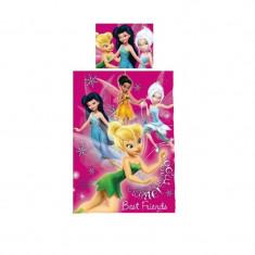 Set lenjerie de pat 2 piese 140 x 200 cm pentru copii Disney Fairies LDF-3, Multicolor