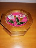 Cutie bijuterii vintage lemn sticla pictata styled by Mele Taiwan cititi descr