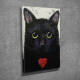 Superb tablou cu PISICA NEAGRA si INIMA ROSIE efect 3D- panza/lemn