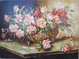 Tablou / Pictura cos cu trandafiri semnat Cimpoesu