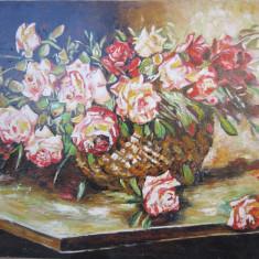 Tablou / Pictura cos cu trandafiri semnat Cimpoesu, Flori, Ulei, Realism