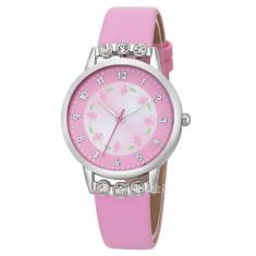 Ceas pentru copii, cu pietricele de cristal, culoare roz