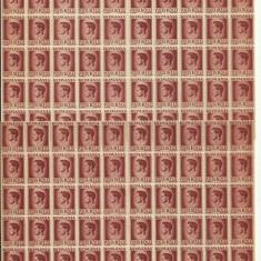 ROMANIA MNH 1945 - Uzuale Mihai I - fragment coala 10 L - 120 timbre (60+60)