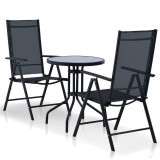 Set mobilier de exterior, 3 piese, aluminiu și textilenă, negru