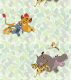 Tapet netesut cu frunze verzi si animale din Lion King Walt Disney