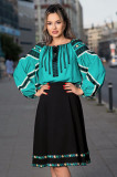 Bluza Effect tip ie turquoise cu broderie traditionala