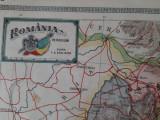 """Harta """"România pe regiuni"""" din atlasul C. Teodorescu 1924"""