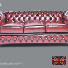 Canapea din piele naturală-3  locuri -Roșu Antique-Autentic Chesterfield Brand