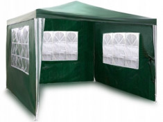 Pavilion De Gradina Metalic Plonos, 3x3 M, Pliabil, 3 Pereti Laterali Cu Ferestre, Verde foto