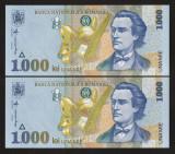 Romania, 1000 lei 1998 UNC_ BNR mare oblic_2 consecutive_serii 010A0712236, 37