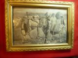 Tablou - La Arat -cu  tarani romani si 2boi uriasi -semnat Rosenberg 1943, ulei