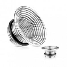 Tunel pentru ureche din oţel chirurgical, culoare argintie, spirală cu bandă de cauciuc - Lățime: 6 mm