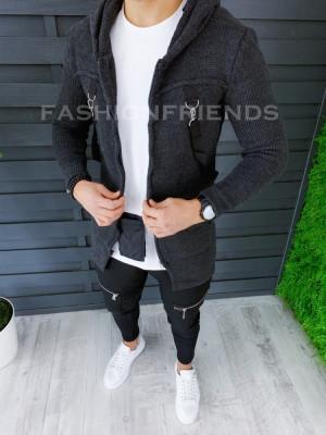 Cardigan barbati gri inchis cu gluga slim fit ZR T3615 foto