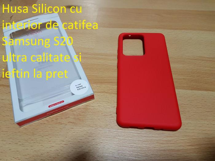 Husa Silicon cu interior de catifea Samsung S20 ultra calitate si ieftin la pret
