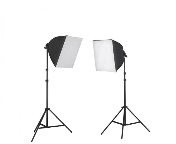 Kit lumina continua foto-video 2x stativ 220cm+2x softbox cu fasung 40x40cm+2x bec 85W