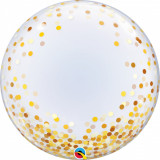 "Balon Deco Bubble - Confetti Aurii - 24""/61 cm, Qualatex 89727"