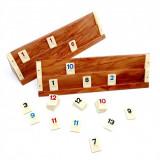 Joc de Rummy 4 Table din Lemn Masiv 32cm Remi Okey Piese Mici Plastic