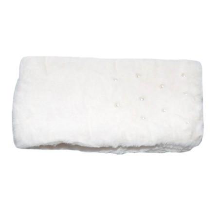 Sal din blanita cu aplicatii de perle,nuanta de alb