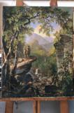44 Tablou Peisaj clasic cu padure, Pictura Ulei pe panza, Peisaj montan 54x67 cm