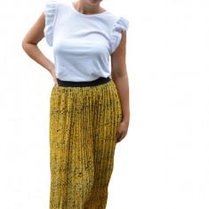 Fusta Eveline, plisata, cu imprimeu dramatic, nuanta de galben, 38, 40, 42, 44, 46, 48