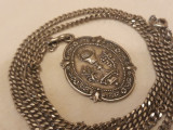 argint MEDALION POCALUL SFANT rar VECHI manopera EXCEPTIONALA  pe Lant Argint