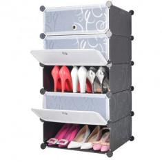Dulap modular cu 5 compartimente de depozitare din plastic usi TRANSPARENTE