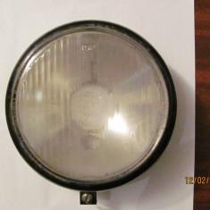 Ansamblu oglinda + sticla de la un proiector auto romanesc comunist cu halogen
