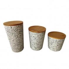 Set 3 recipiente depozitare cu capac din bambus Grunberg BM006/07/08, model puncte