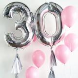 Balon folie cifra gigant, inaltime 100 cm, culoare argintiu, aniversare, PRC