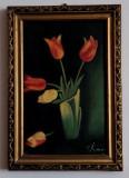 Vas cu lalele – pictură a scriitoarei Elena Farago (?), Flori, Ulei, Art Deco